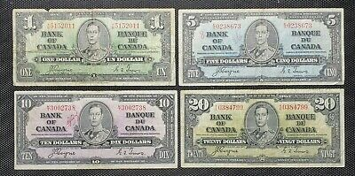 Canada 1937 Coyne Towers $1.00 $5.00 $10.00 $20.00 Banknote Lot