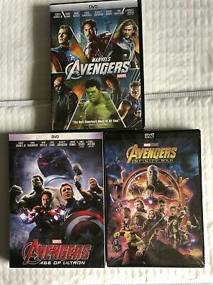 Avengers Trilogy DVD 1,2,3 New Marvel Movies Infinity War Age of Ultron