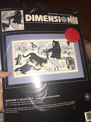 DIMENSIONS counted corss stitch NATURES BEAUTIES animals black & white 1996 NIP