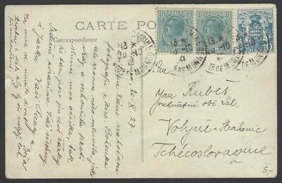 Monaco #125 1932 2Fr on uprated 90c postal card to Germany