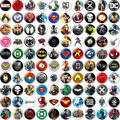 1 x Choose Your Own Superhero 32mm BUTTON PIN BADGE Superheroes Party Birthday
