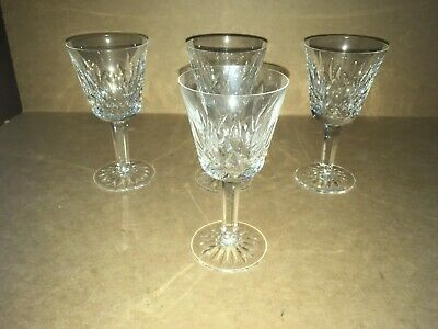 "Lot Of 4 Waterford Crystal Lismore Wine Glasses 5 7/8"" X 3"""