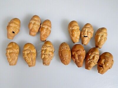Vintage Chinese Hediao Carved Nuts Pits Face Beads  -  56359
