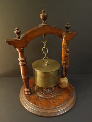 BELL Made With A Case Shell 120mm  With Oak Stand & Hammer 1917 TRENCH ART WW1