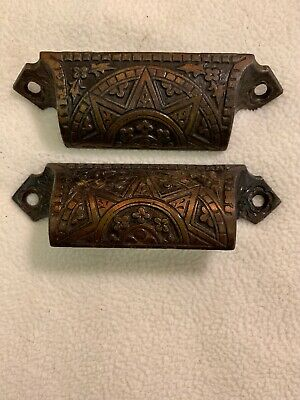 Pair Of 2 Antique Ornate Eastlake Victorian Cast Iron Bin Pulls Drawer Handles