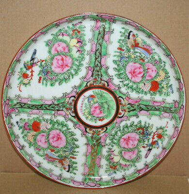 Chinese Canton Famille Rose Medallion Porcelain Export Ware Tray Plate Dish