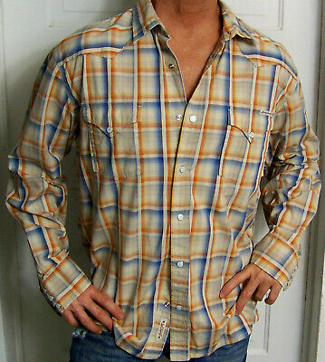 c9c5113c mens - LUCKY BRAND shirt - XXL - WESTERN - PLAID - Snap Pockets - Cotton