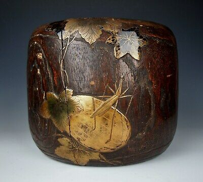 200 YR OLD ANTIQUE JAPANESE KIRI WOOD HIBACHI POT Cricket Edo Maki-e Lacquer