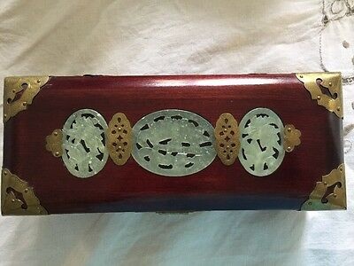 Vintage Chinese Rosewood Jewelry Trinket Box Jade Medallion brass trim