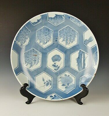 ANTIQUE JAPANESE KO IMARI CHARGER 200 Yr Old Porcelain 1700s Blue Sometsuke