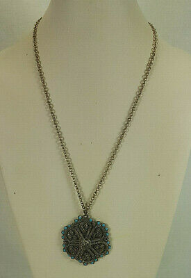 Antique Middle Eastern Silver Filigree Wire Work Turquoise Bead Pendant & Chain