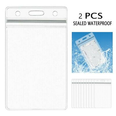 2pcs* QUALITY Vertical Clear Card ID Sleeve Holder Office Name Tag Pass lanyard