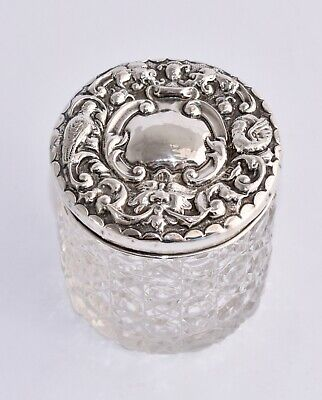 Charming 1906 Sterling Silver Repousse Mask & Birds Lidded Vanity Jar - Hobnail