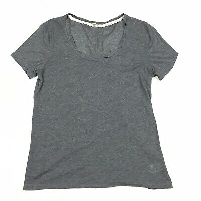 Anthropologie E By Eloise Solid Blue Short Sleeve Scoop Neck T-Shirt Size Small