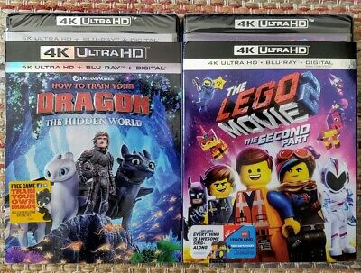 How To Train Your Dragon 3 & Lego Movie 2 4K + Bluray ✔Mint✔Slipcover✔No Digital