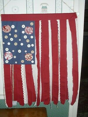 """GALLERIE II-18""""x 24""""FABRIC COTTAGE FLAG WALL ART- NEW-2019"""