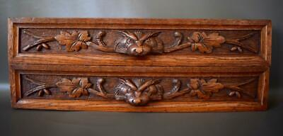 Pair of Antique French Carved Wood Scroll Griffin Handle Pediment Drawer Front