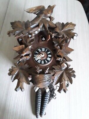 Stunning Carved Wooden Cuckoo Clock Full working order