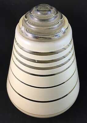Vintage Art Deco Glass Rocket Light Lamp Shade With Inbuilt Clear Diffuser