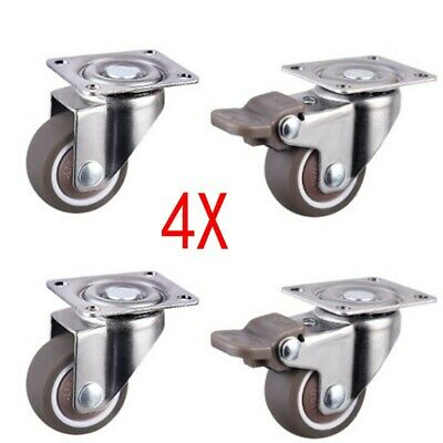 """4pcs 1"""" Low Profile Casters Wheels Soft Rubber Swivel Caster Home Tool New UK"""
