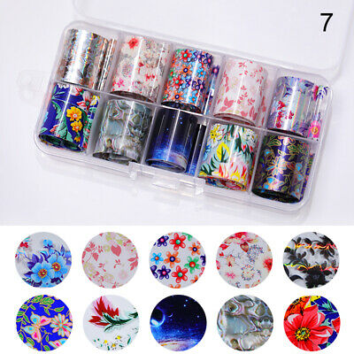 10 Rolls/Box Holo Nail Foils Starry Sky Nail Art Stickers Flower Pattern Decals