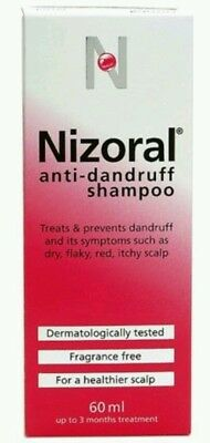 FREE DELIVERY 2 x Nizoral Anti Dandruff Shampoo, 60 ml ** Hair care pack of 2