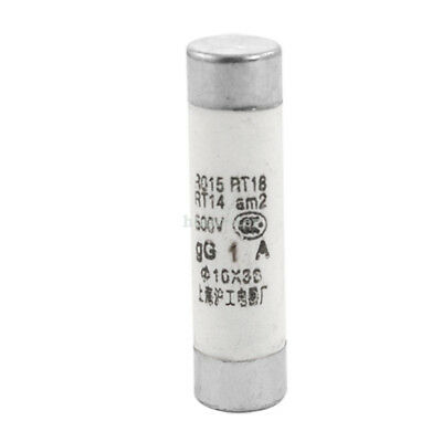 H● 20 Pcs Electrical 1A 10mm x 38mm Ceramic Tube Cylindrical Fuse Link