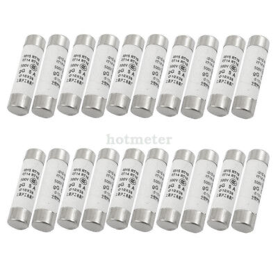 H● 20 Pcs RO15 Series 500V 5A Cylinder Cap Ceramic Fast Blow Fuse Link