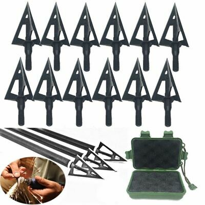 12pcs Broadheads 100 Grain 3 Fixed Blade Archery Arrow Heads Bow Hunting Black