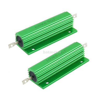 H● 2 Pcs 100W 0.5 Ohm Green Aluminum Housed Wirewound Resistors