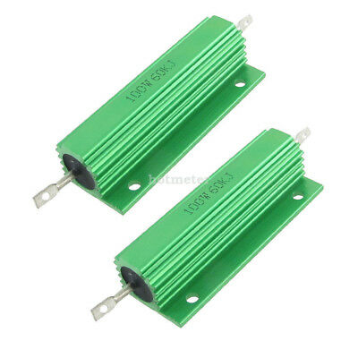 H● 2 Pcs 100W 60K Ohm Screw Tap Mounted Aluminum Housed Wirewound Resistor