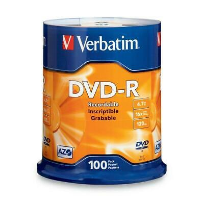 Verbatim DVD-R 4.7GB 16x AZO Recordable Media Disc - 100 Spindle (FFP),...