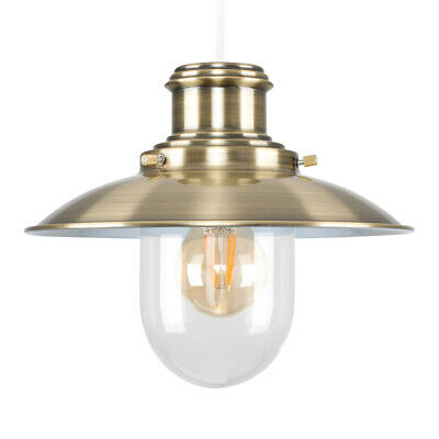 Traditional Antique Brass + Glass Fishermans Ceiling Light Pendant Shade Home