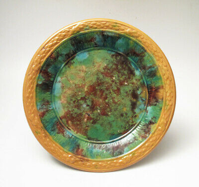 Antique Spongeware Majolica Plate Possibly Lithgow Australian Pottery Small #1