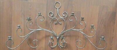 Vintage ornate solid wrought iron 10 candle wall sconce 42 x 21""