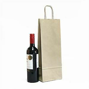 Italian Brown Paper One Bottle Bag with Twisted Handles - Pack of 25