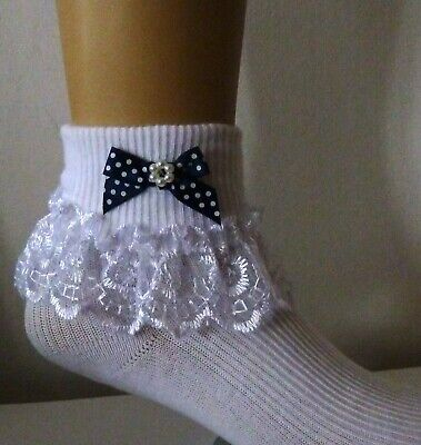 Girls  White Frilly Lace  Socks Size Loads Of Sizes  Bows And Beads Polka Dot