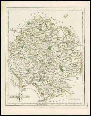 1793 Original Antique MAP of 'HEREFORDSHIRE' by John Cary Outline Colour (18)