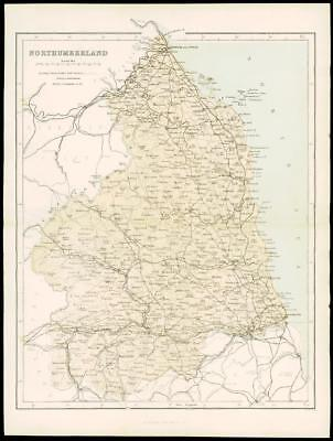 "1865 - Original Antique Map of ""NORTHUMBERLAND"" by W Hughes (45)"