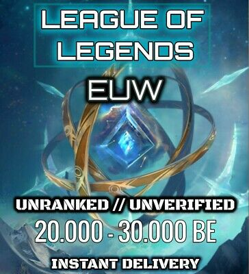 League Of Legends Account LOL EUW Smurf 50000 BE Unranked Level 30 Unverified