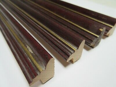 4 x 1m lengths (4m) Mahogany & Gold Wooden Picture Frame Moulding 17mm wide