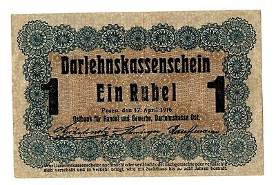 Germany Occupation WWI Eastern bank Pozen 1 Rubles Banknote 1916
