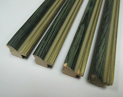 4 x 1m lengths (4m) Small Grey & Gold Wooden Picture Frame Moulding 15mm wide