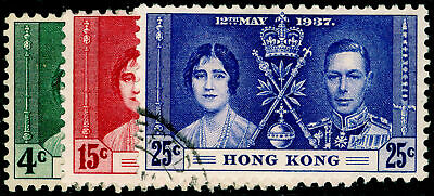 HONG KONG SG137-139, 1937  Coronation COMPLETE SET, VFU. Cat £15.