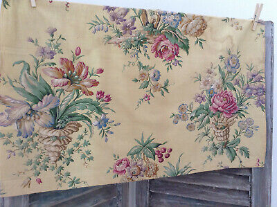 Lovely Antique vintage French floral fabric yellow chintz cotton rose home decor