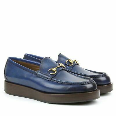 c83893574 $840 Gucci Mens Shaded Leather Platform Horsebit Loafer Shoes 353043 Blue 11