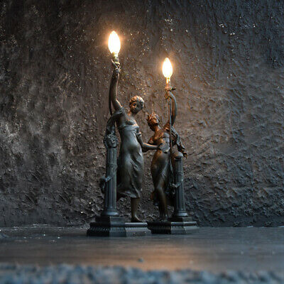 Pair of French Art Nouveau Mathurin Moreau classical spelter table lamp figures