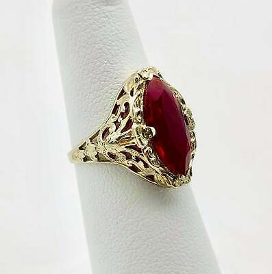 Beautiful Art Deco Solid 14k White Gold Filigree and Synthetic Ruby Ring! Size 5