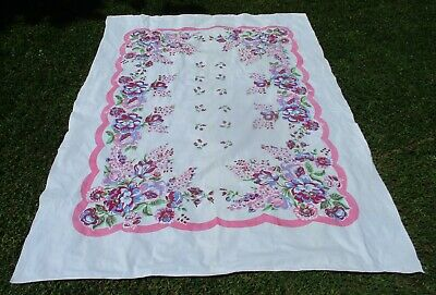 "60's-70's Large Country Kitchen Floral on White Tablecloth VGUC 78"" x 58"""