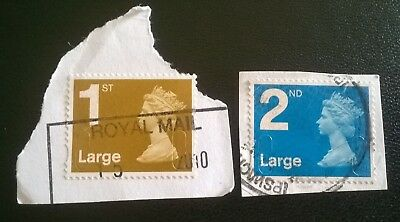 2 x USED GB 1ST & 2ND LARGE SG U2977/8 SECURITY MACHIN STAMPS MAIL (2009) ROYAL